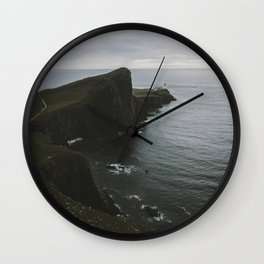 Neist Point Lighthouse at the Atlantic Ocean - Landscape Photography Wall Clock