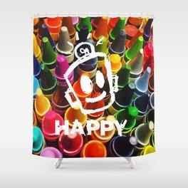 Crayon HAPPY Shower Curtain