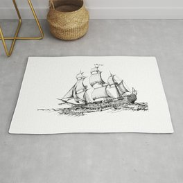 sailing ship . Home decor Graphicdesign Rug