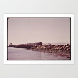 NEW YORK SUBWAY IS ABOVE GROUND WHEN IT CROSSES JAMAICA BAY AREA Art Print