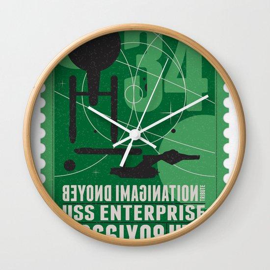 Beyond imagination: USS Enterprise postage stamp  Wall Clock