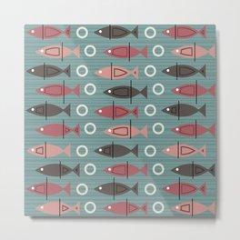 Mid Century Modern Fish Pattern Teal Salmon Pink Brown Metal Print