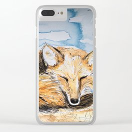 Snoozy Foxy Clear iPhone Case