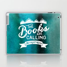 The Books Are Calling And I Must Read + White on Green Laptop & iPad Skin