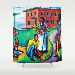 "African American Classical Masterpiece ""The Results of Good Housing"" by Hale Woodruff Shower Curtain"