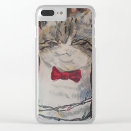 Adam the Christmas Cat Clear iPhone Case