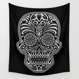 Intricate White and Black Day of the Dead Sugar Skull Wall Tapestry