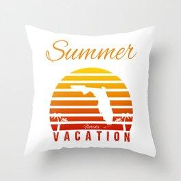 Summer Vacation Florida Miami Beach Holiday Sunset Retro Vintage Throw Pillow