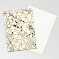 Stylish white marble faux gold glitter triangles pattern Stationery Cards