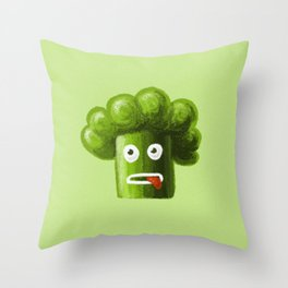 Stressed Out Broccoli Throw Pillow