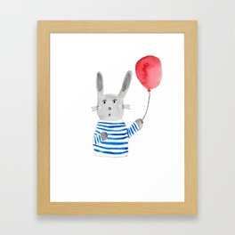 Bunny holding a red balloon Framed Art Print