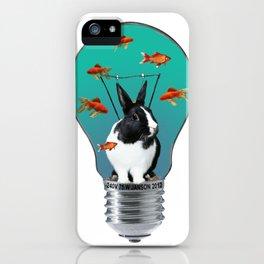 Rabbit - Bunny - Light Bulb - goldfishes iPhone Case