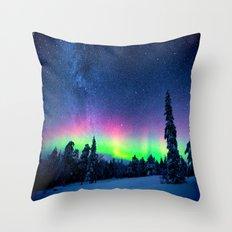 Aurora Borealis Over Wintry Mountains Throw Pillow