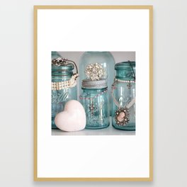 Vintage Mason Jars Shabby Chic Cottage Jeweled Decor Framed Art Print