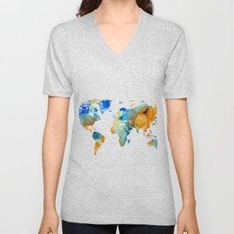 World Map Art - Map Of The World 14 - By Sharon Cummings Unisex V-Neck