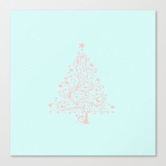 Merry christmas- Pink abstract christmastree on turquoise backround Canvas Print