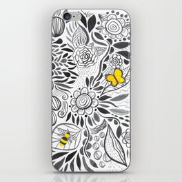 black & white flowers iPhone Skin