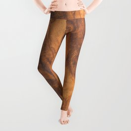 Brown faux wood background Leggings