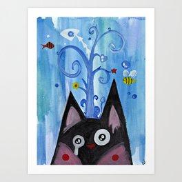 Crying Kitty Blue Art Print