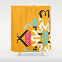 arabic Shower Curtains featuring Orange Arabic by Farah Saheb