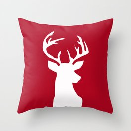 Deer head. White and red. Throw Pillow