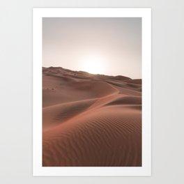 Sunset over the dunes Art Print