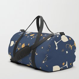 Chic navy blue faux gold glitter party time Duffle Bag
