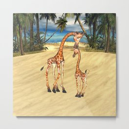 Mothers Love Giraffes Metal Print