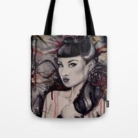pinup Tote Bags featuring pinup by Andreea Red