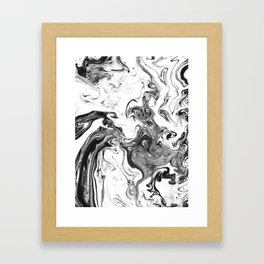 Suminagashi 1 black and white marble spilled ink ocean swirl watercolor painting Framed Art Print