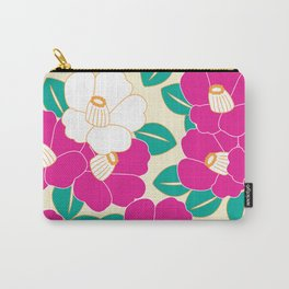 Japanese Style Camellia - Pink and White Carry-All Pouch