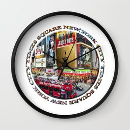 Times Square New York City (badge emblem on white) Wall Clock