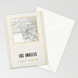 Vintage Los Angeles City Gold Foil Location Coordinates with map Stationery Cards