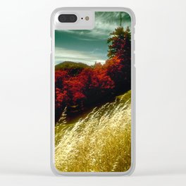 Golden Wheat By Red Pines With Green Sky Clear iPhone Case