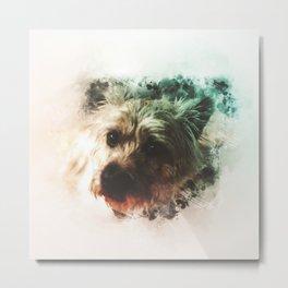 Cairn Terrier Digital Watercolor Painting Metal Print