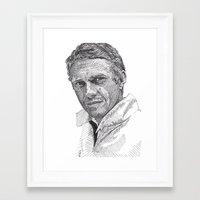 steve mcqueen Framed Art Prints featuring Steve by Rik Reimert