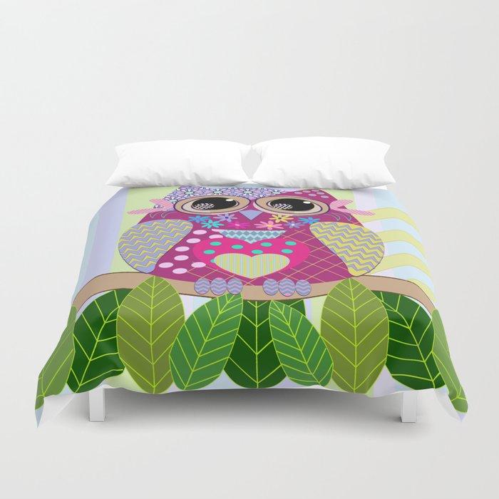 Cute Patterns Flower Power Owl Duvet Cover
