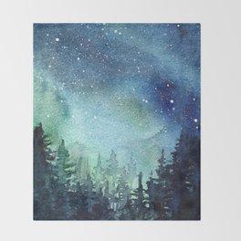 Galaxy Watercolor Aurora Borealis Painting Throw Blanket