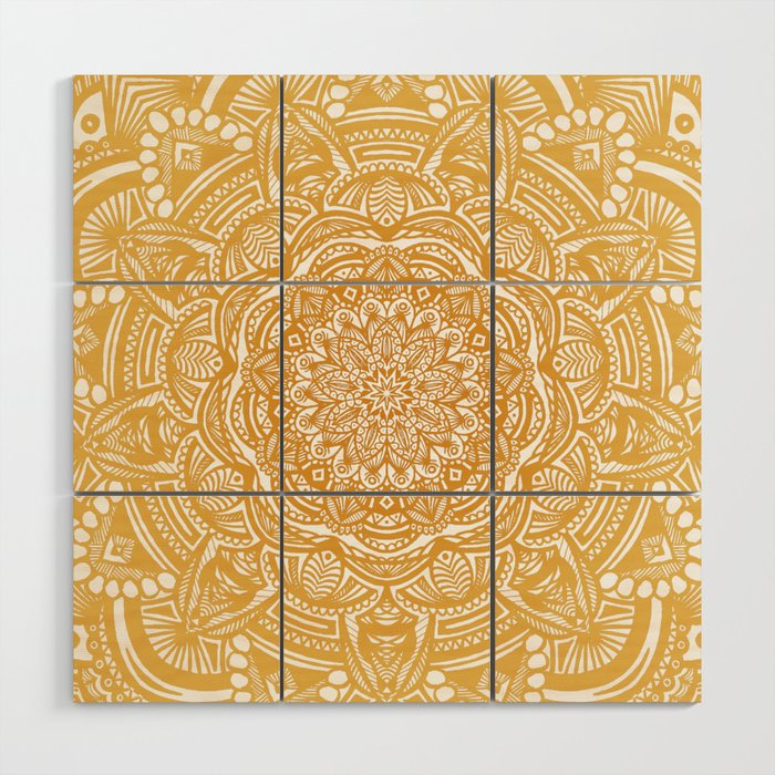 Golden Mustard Yellow Orange Ethnic Mandala Detailed Wood Wall Art ...