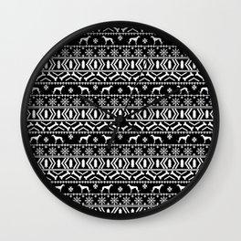 Greyhound fair isle christmas holidays pattern black and white dog gifts Wall Clock