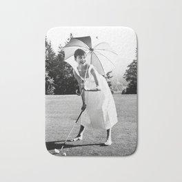 Audrey Hepburn Playing Golf, Black and White Vintage Art Bath Mat