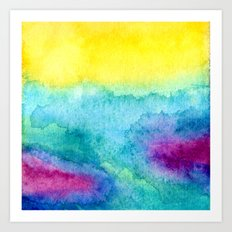 Modern neon yellow blue hand painted watercolor Art Print