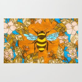 Bumblebee In Wild Rose Wreath Rug