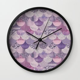Pale Pink Pastel Glamour Fish Skin Scale Pattern Wall Clock