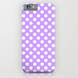 White Polka Dots on Lilac - more colors iPhone Case