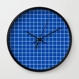 Cobalt blue - blue color -  White Lines Grid Pattern Wall Clock