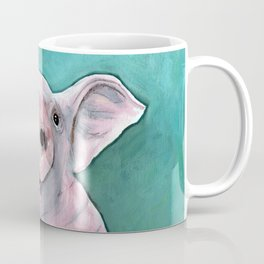 Happy pig painting, smiling pig watercolor, colorful piglet art, laughing piggy, kid's wall art, kit Coffee Mug
