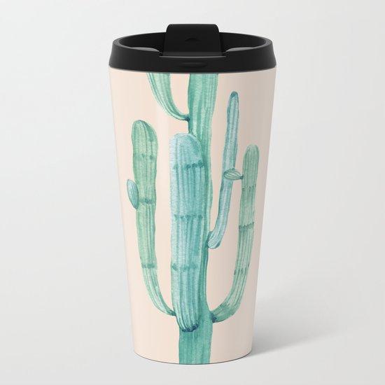 Solo Cactus Mint on Coral Pink Metal Travel Mug