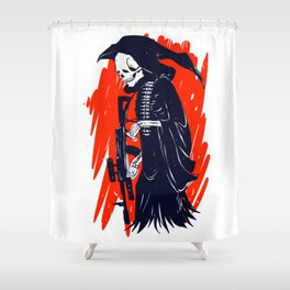 Military skeleton - grim soldier - gothic reaper Shower Curtain