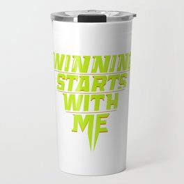 Winning Starts With Me Running Runner 5K Fun Run Green Travel Mug